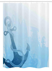 "Ambesonne Nautical Stall Shower Curtain, Monochrome Anchor Illustration Deep Down in The Sea Bottom Be Strong and Stable, Fabric Bathroom Decor Set with Hooks, 54"" X 78"", Light Blue"
