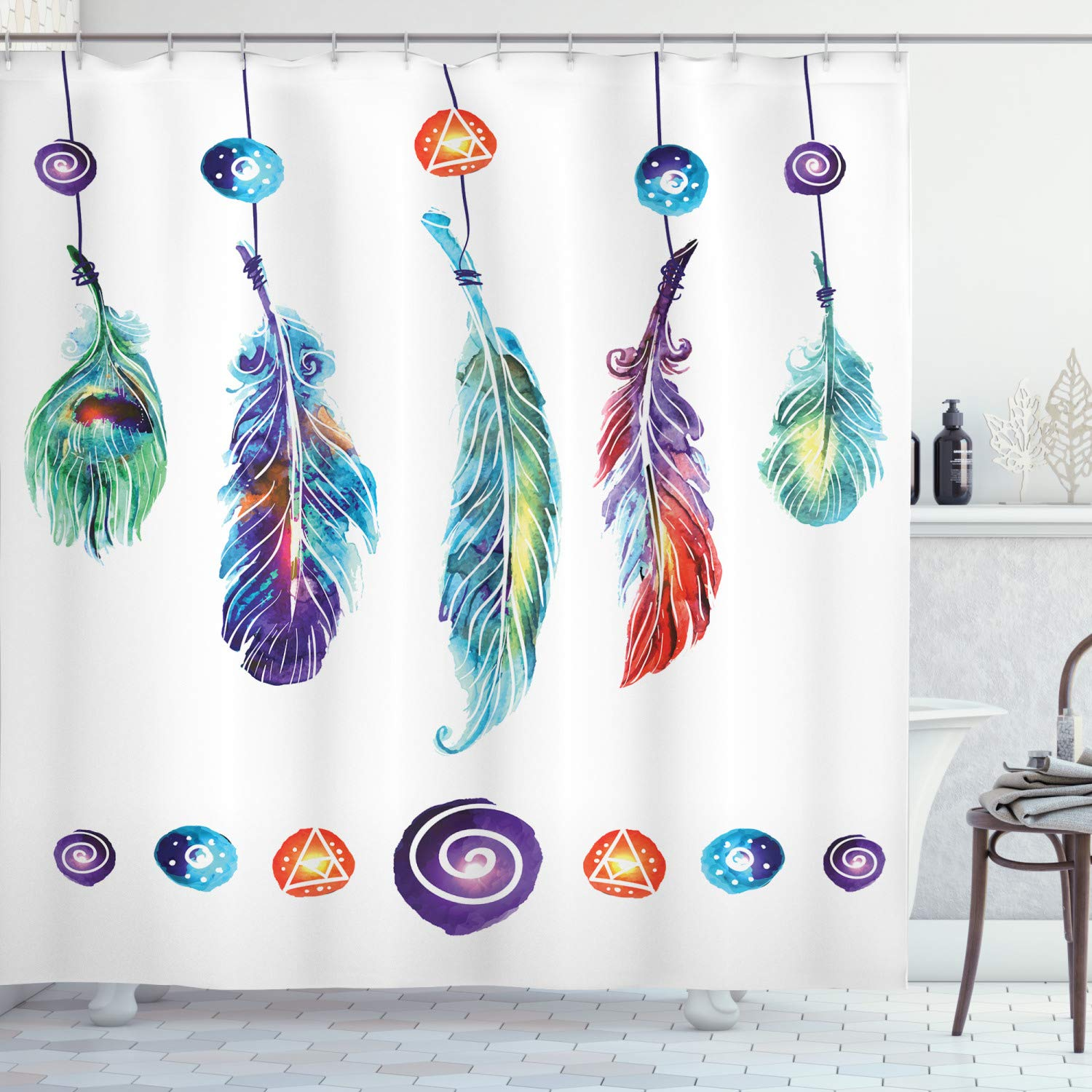 "Ambesonne Boho Shower Curtain, Several Tribal Feather Group in Psychedelic Hippie Universe Cosmos Harmony Forms, Cloth Fabric Bathroom Decor Set with Hooks, 75"" Long, White Purple"