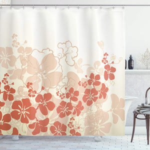 "Ambesonne Hawaiian Shower Curtain, Hawaii Flowers Silhouette Tropical Plants Ornamental Floral Illustration, Cloth Fabric Bathroom Decor Set with Hooks, 70"" Long, Fuchsia Salmon"