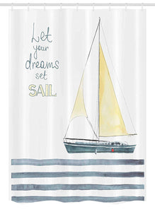 "Ambesonne Nautical Stall Shower Curtain, Let Your Dreams Set Sail Words Stripes Yacht Interior Navigation Theme, Fabric Bathroom Decor Set with Hooks, 54"" X 78"", Petrol Blue"