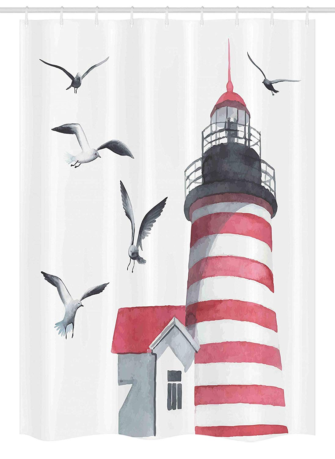 Ambesonne Lighthouse Stall Shower Curtain, Lighthouse and Seagulls on The Beach Navigational Aid Seaside Waterways Art, Fabric Bathroom Decor Set with Hooks, 54 W x 78 L Inches, Red Grey White