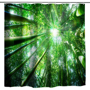 BROSHAN Green Decor Shower Curtain,Nature Bamboo Forest Tree Spring Summer Natural Scenery Art Print Bath Curtain,Polyester Fabric Bathroom Decor Set with Hooks,72x72 inch,Green