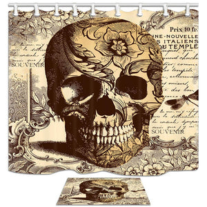 ChuaMi Skull Shower Curtain Set, Brown Yellow Skull Head Mirror Text and Flowers Theme, Bathroom Decor Design Polyester Fabric 69 x 70 Inches with Hooks and Anti-Slip 40 x 60cm Bath Mat