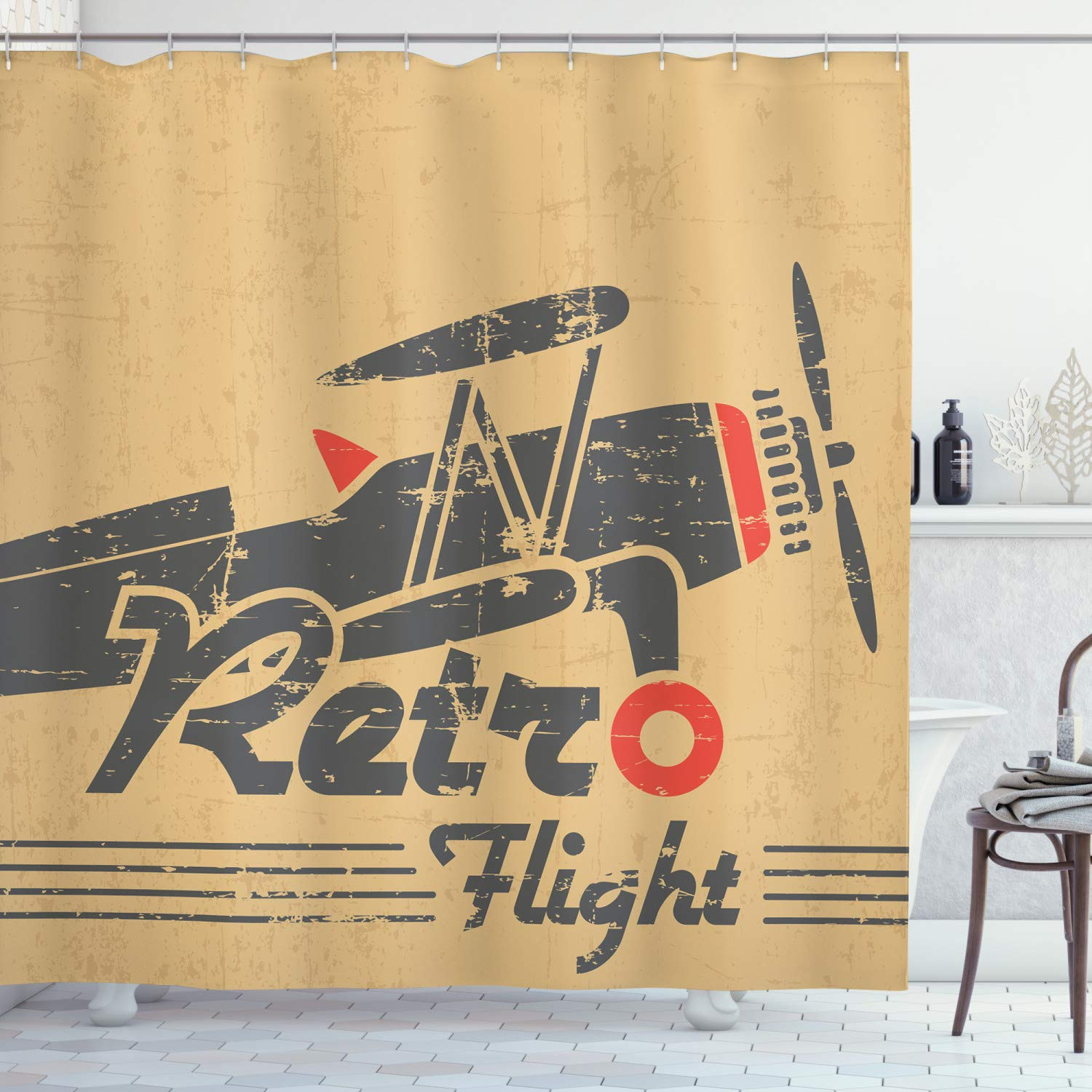"Ambesonne Vintage Airplane Shower Curtain, Retro Flight Emblem with Old Plane Stripes Grunge Style, Cloth Fabric Bathroom Decor Set with Hooks, 70"" Long, Sand"