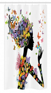 "Ambesonne Butterflies Stall Shower Curtain, Girl Fashion Flowers with Butterflies Ornamental Floral Foliage Nature Forest, Fabric Bathroom Decor Set with Hooks, 36"" X 72"", Black White"