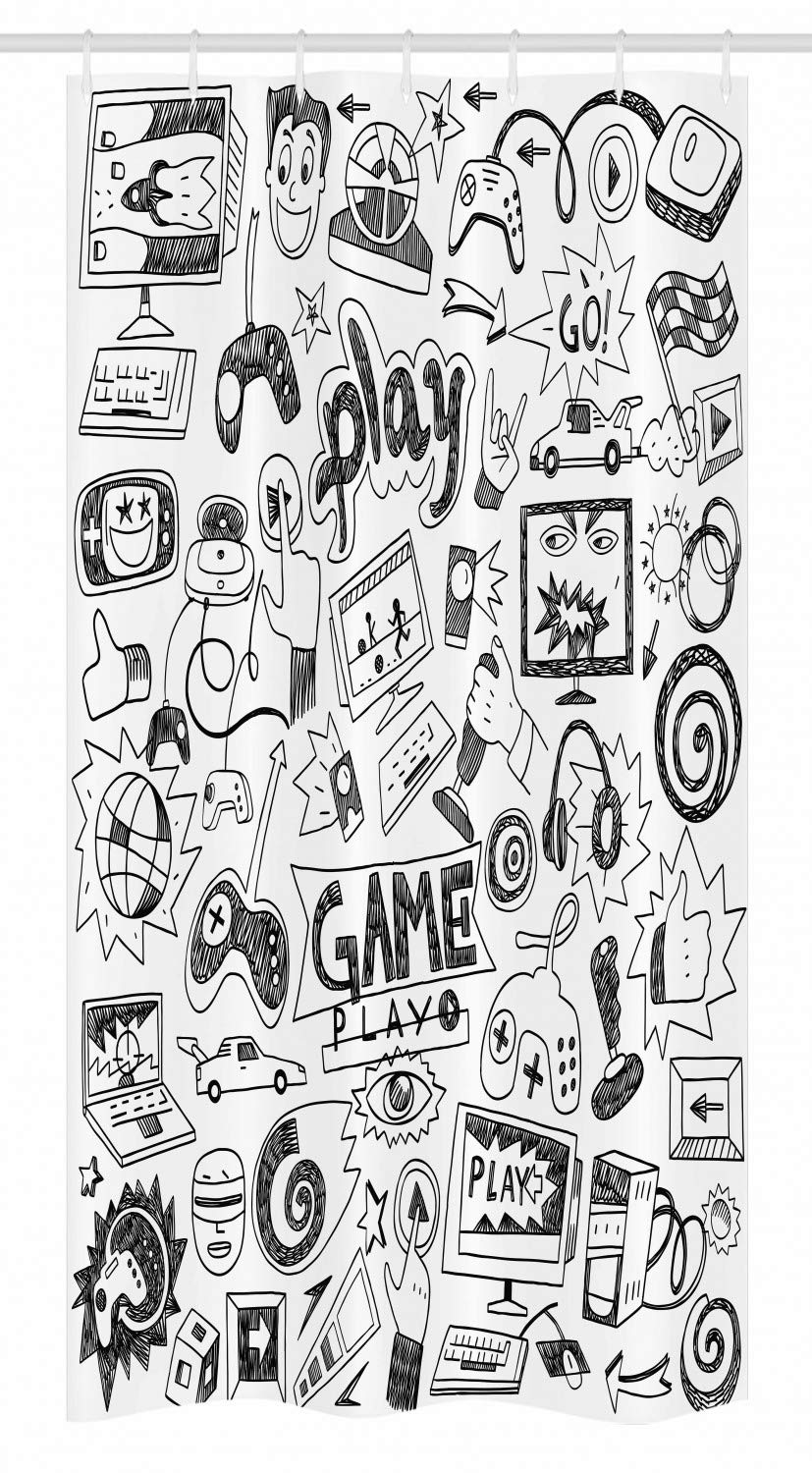 "Ambesonne Video Games Stall Shower Curtain, Monochrome Sketch Style Gaming Design Racing Monitor Device Gadget Teen 90's, Fabric Bathroom Decor Set with Hooks, 36"" X 72"", Black White"