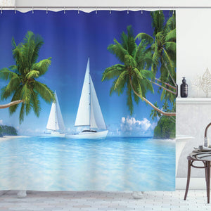 Ambesonne Tropical Palm Trees and Ocean Houseboat Decor Collection, Nautical Window Scenery Sailboat Sea Life Seascapes Caribbean, Polyester Fabric Bathroom Shower Curtain Set with Hooks