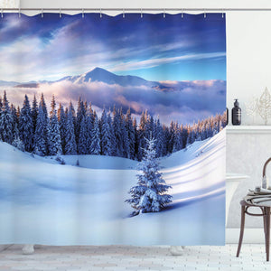 Ambesonne Winter Decorations Shower Curtain, Surreal Winter Scenery with High Mountain Peaks and Snowy Pine Trees, Fabric Bathroom Decor Set with Hooks, 84 Inches Extra Long, Blue White