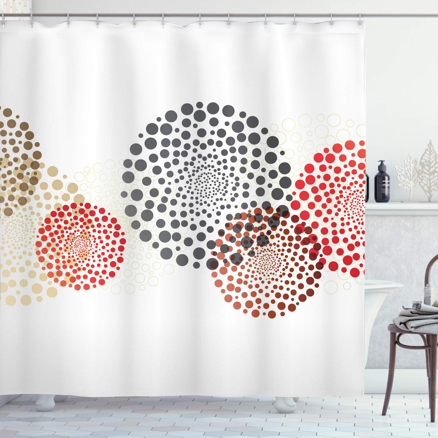 Ambesonne Abstract Decor Shower Curtain, Modern Cool Decoration with Dots Like and Circled Design Artwork, Fabric Bathroom Decor Set with Hooks, 84 Inches Extra Long, Red Grey