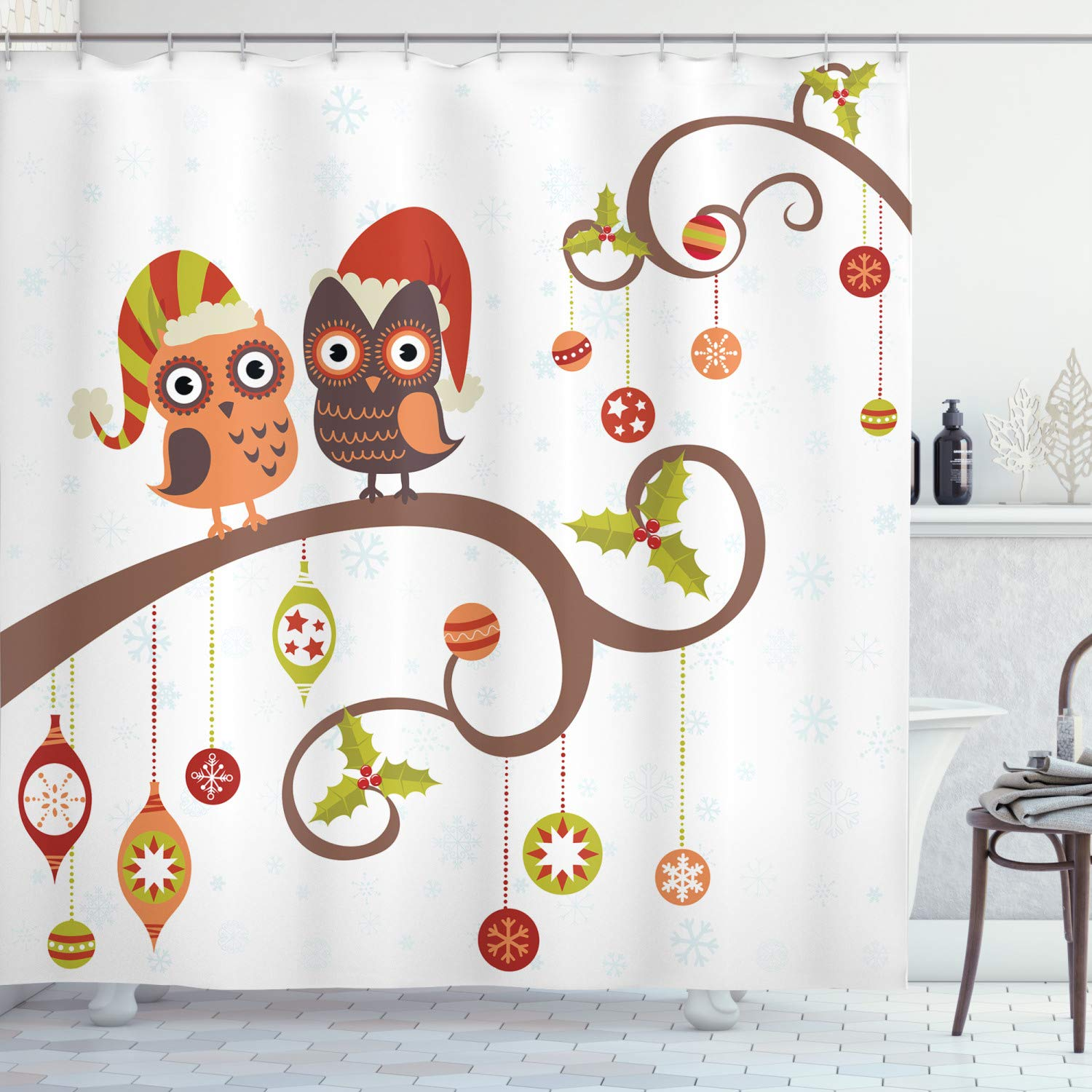 "Ambesonne Christmas Shower Curtain, Owls on Celebrating Twiggy Tree Branches Annual Yule Noel Christmas Themed Print, Cloth Fabric Bathroom Decor Set with Hooks, 75"" Long, Grey Brown"