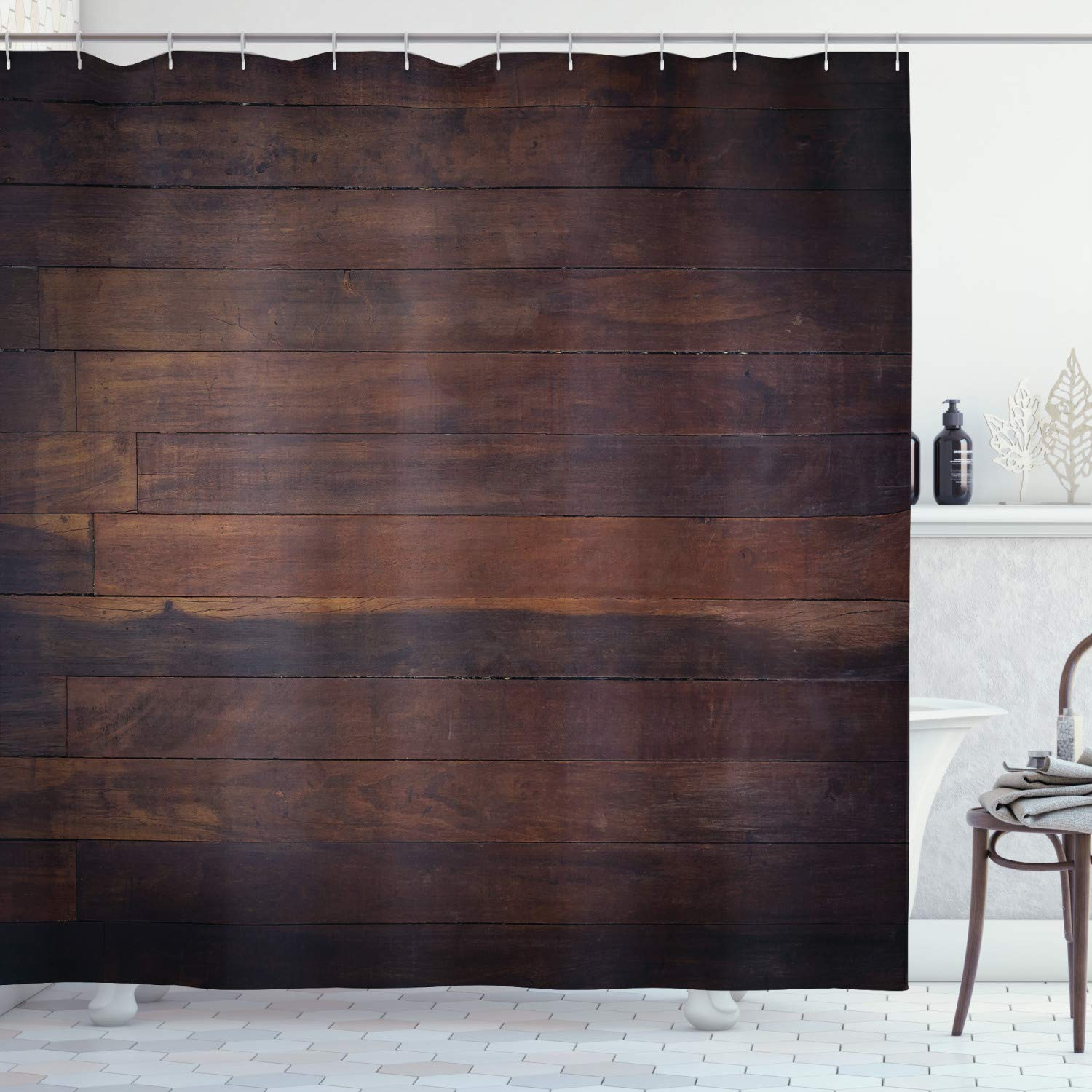 Ambesonne Chocolate Shower Curtain, Aged Weathered Dark Timber Oak Wooden Planks Floor Image Country Life Carpentry, Cloth Fabric Bathroom Decor Set with Hooks, 84 Inches Extra Long, Dark Brown
