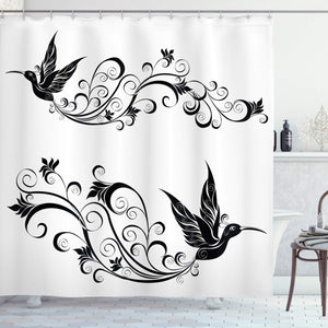 Ambesonne Hummingbirds Decorations Collection, Tattoo Hummingbird Silhouette Wildlife Decorative Curvy Stems Blooms Imagery, Polyester Fabric Bathroom Shower Curtain Set with Hooks, Black White