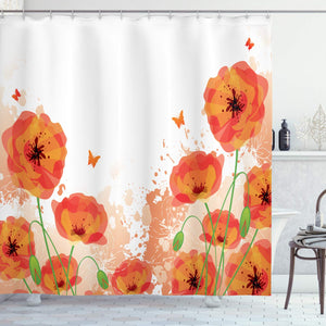 "Ambesonne Poppy Shower Curtain, Digital Watercolors Design of Poppy Classic Botany Bouquet Patterns Print, Cloth Fabric Bathroom Decor Set with Hooks, 75"" Long, Orange White"