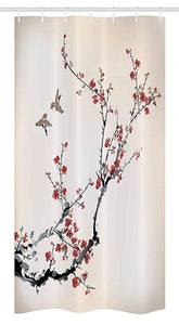 "Ambesonne Nature Stall Shower Curtain, Cherry Branches Flowers Buds and Birds Style Artwork with Painting Effect, Fabric Bathroom Decor Set with Hooks, 36"" X 72"", Burgundy Black"