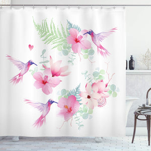"Ambesonne Hummingbirds Shower Curtain, Tropical Flowers with Flying Hummingbirds Wild Nature Blooms, Cloth Fabric Bathroom Decor Set with Hooks, 70"" Long, Pink Purple"