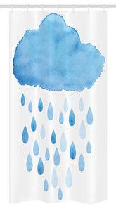"Ambesonne Nature Stall Shower Curtain, Rain Drops and Cloud in Watercolor Painting Effect Nimbus Fun Art Illustration, Fabric Bathroom Decor Set with Hooks, 36"" X 72"", White Blue"