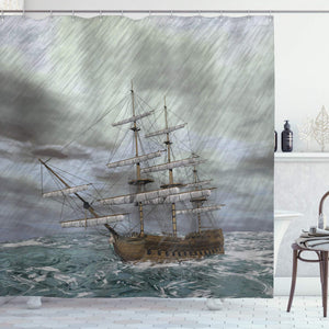 "Ambesonne Nautical Shower Curtain, Old Ship on The Ocean in Wave Rainy Stormy Weather Fantasy Illustration, Cloth Fabric Bathroom Decor Set with Hooks, 70"" Long, Grey Blue"