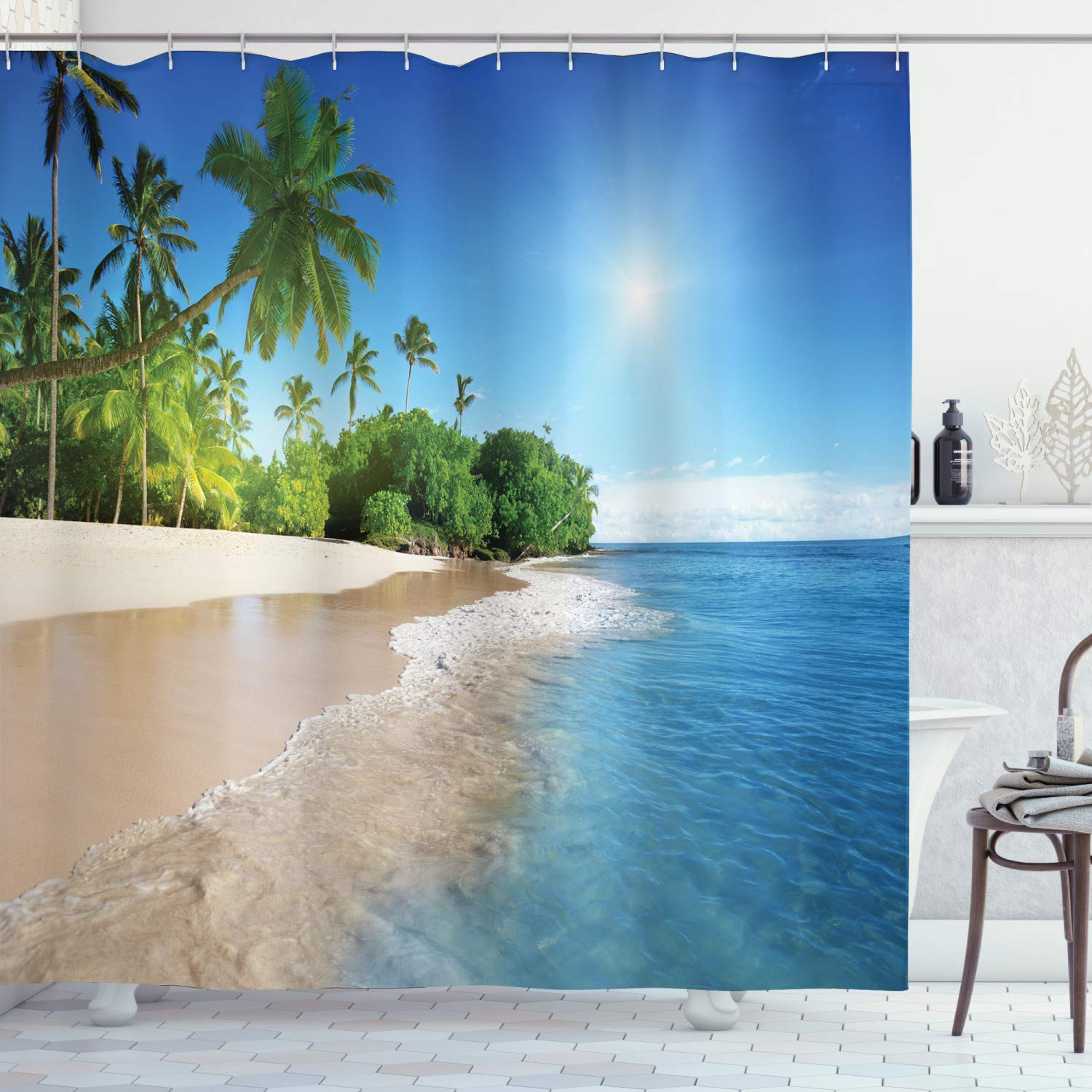 Ambesonne Ocean Decor Collection, Tropical Palm Trees on a Sunny Island Beach Scene Panoramic View Picture, Polyester Fabric Bathroom Shower Curtain Set with Hooks, Blue Green White Multicolored