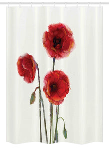 Ambesonne Watercolor Flower Stall Shower Curtain, Poppy Flowers Spring Blossoms with Watercolor Painting Effect, Fabric Bathroom Decor Set with Hooks, 54 W x 78 L inches, White Red Sage Green