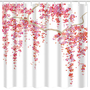 BROSHAN Pink and White Shower Curtains for Girls Bathroom Set, Nature Japanese Cherry Blossom Print Polyester Bath Fabric Shower Curtain with Hooks,72 x 72 Inches