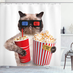 Ambesonne Movie Theater Decor Shower Curtain, Cat with Popcorn and Drink Watching Movie Glasses Entertainment Cinema, Fabric Bathroom Decor Set with Hooks, 75 inches Long, White Red