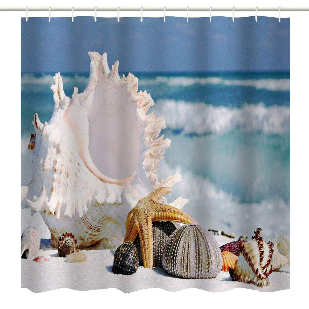 BROSHAN Seashell Decor Shower Curtain,Beach Sea Shell Starfish Conch Tropical Seascape Bath Curtain Art Print,Polyester Waterproof Bathroom Accessories with Hooks,72x72 inch,Blue,Ivory