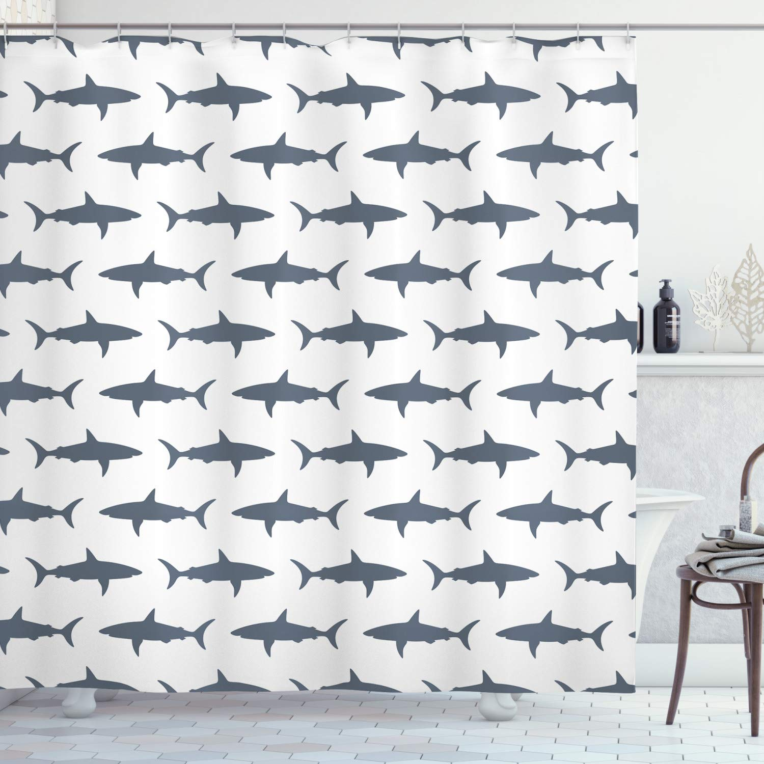 Ambesonne Sea Animals Decor Collection, Sharks Swimming Horizontal Silhouettes Traveler Powerful Danger Design Pattern, Polyester Fabric Bathroom Shower Curtain Set with Hooks, Gray and White