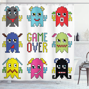 "Ambesonne 90s Shower Curtain, Pixel Robot Emoticons with Game Over Sign Inspired by 90's Computer Games Fun Artprint, Cloth Fabric Bathroom Decor Set with Hooks, 84"" Extra Long, Yellow Red"