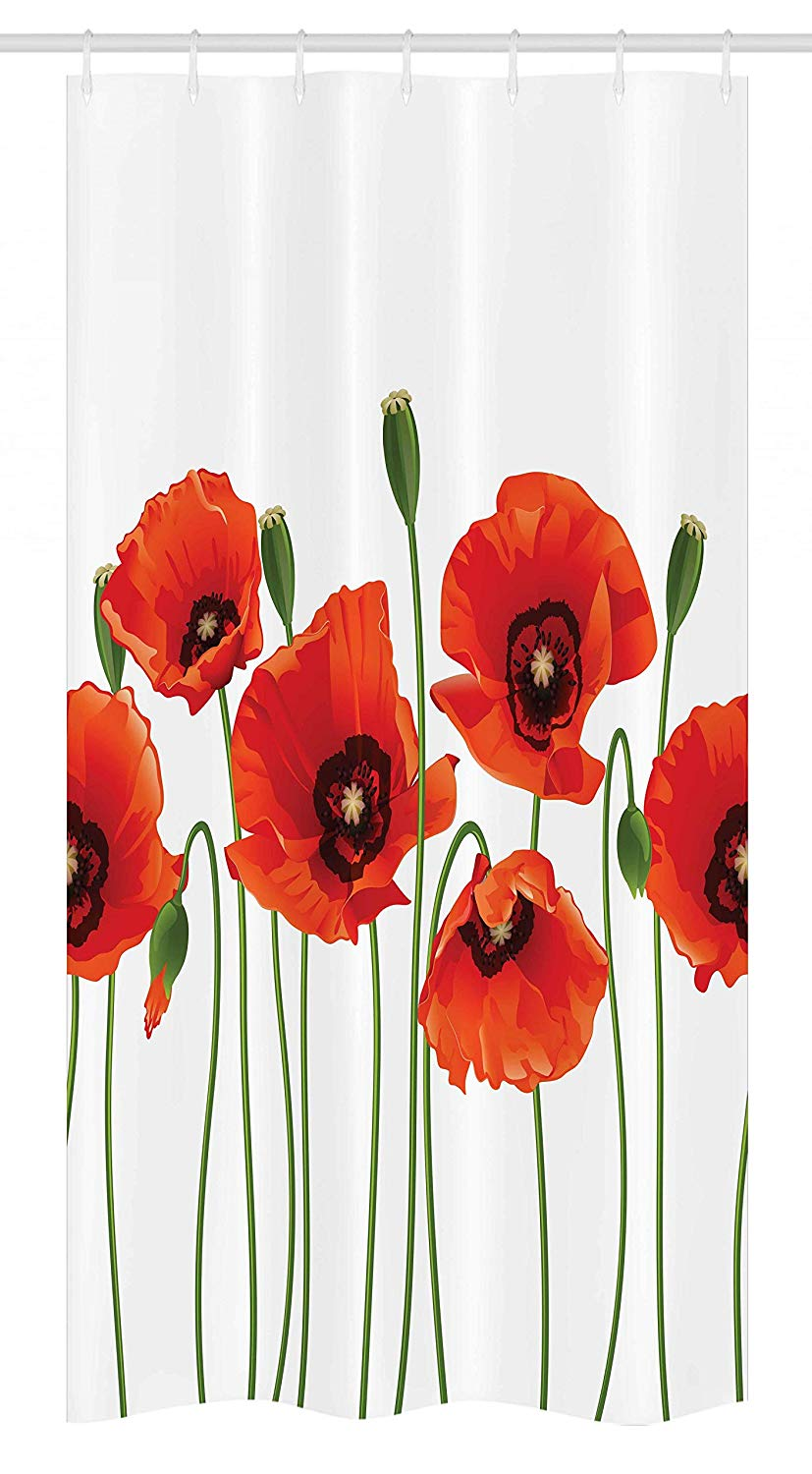 Ambesonne Floral Stall Shower Curtain, Poppies of Spring Season Pastoral Flowers Botany Bouquet Field Nature Theme Art, Fabric Bathroom Decor Set with Hooks, 36 W x 72 L Inches, Red and Green