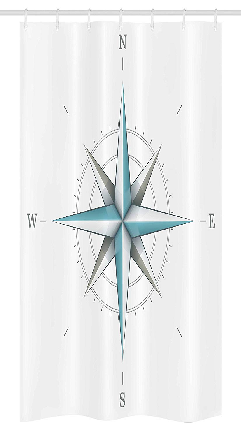 "Ambesonne Compass Stall Shower Curtain, Antique Wind Rose Diagram for Cardinal Directions Axis of Earth Illustration, Fabric Bathroom Decor Set with Hooks, 36"" X 72"", Teal Dimgray"