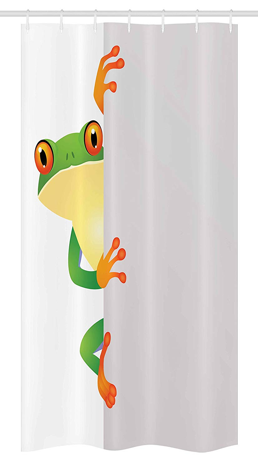 "Ambesonne Reptile Stall Shower Curtain, Funky Frog Prince with Big Eyes on Wall Camouflage Nursery Reptiles Theme, Fabric Bathroom Decor Set with Hooks, 36"" X 72"", Yellow Green"