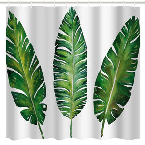 BROSHAN Green Plant Shower Curtain,Tropical Leaf Banana Leaves Summer Nature Scene Bath Curtain, Green White Polyester Waterproof Fabric Bathroom Decor Set with Hooks,72x72 Inch