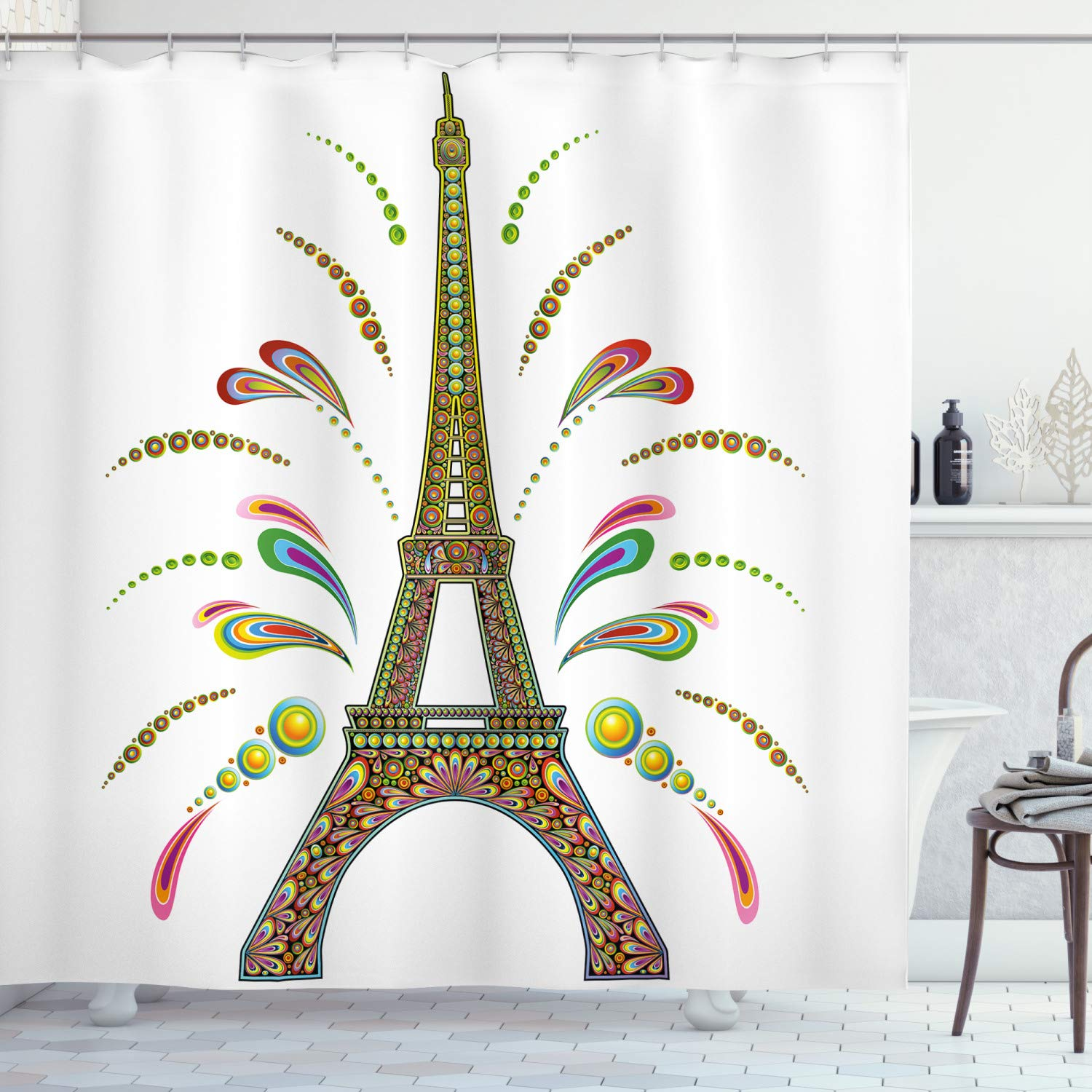 "Ambesonne Psychedelic Shower Curtain, France Eiffel Tower Abstract Fireworks Design Rainbow Psychedelic Patterns Art, Cloth Fabric Bathroom Decor Set with Hooks, 70"" Long, White Yellow"