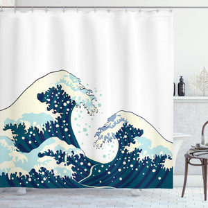 Ambesonne The Great Waves of Kanagawa Decor Collection, Japanese Illustration Ocean Decor Design , Polyester Fabric Bathroom Shower Curtain Set with Hooks, White Navy CadetBlue