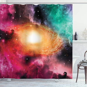 "Ambesonne Zodiac Shower Curtain, Colorful Astronomy Pictures of a Spiral Galaxy Stars Stardust and Cosmos, Cloth Fabric Bathroom Decor Set with Hooks, 70"" Long, Black Pink"