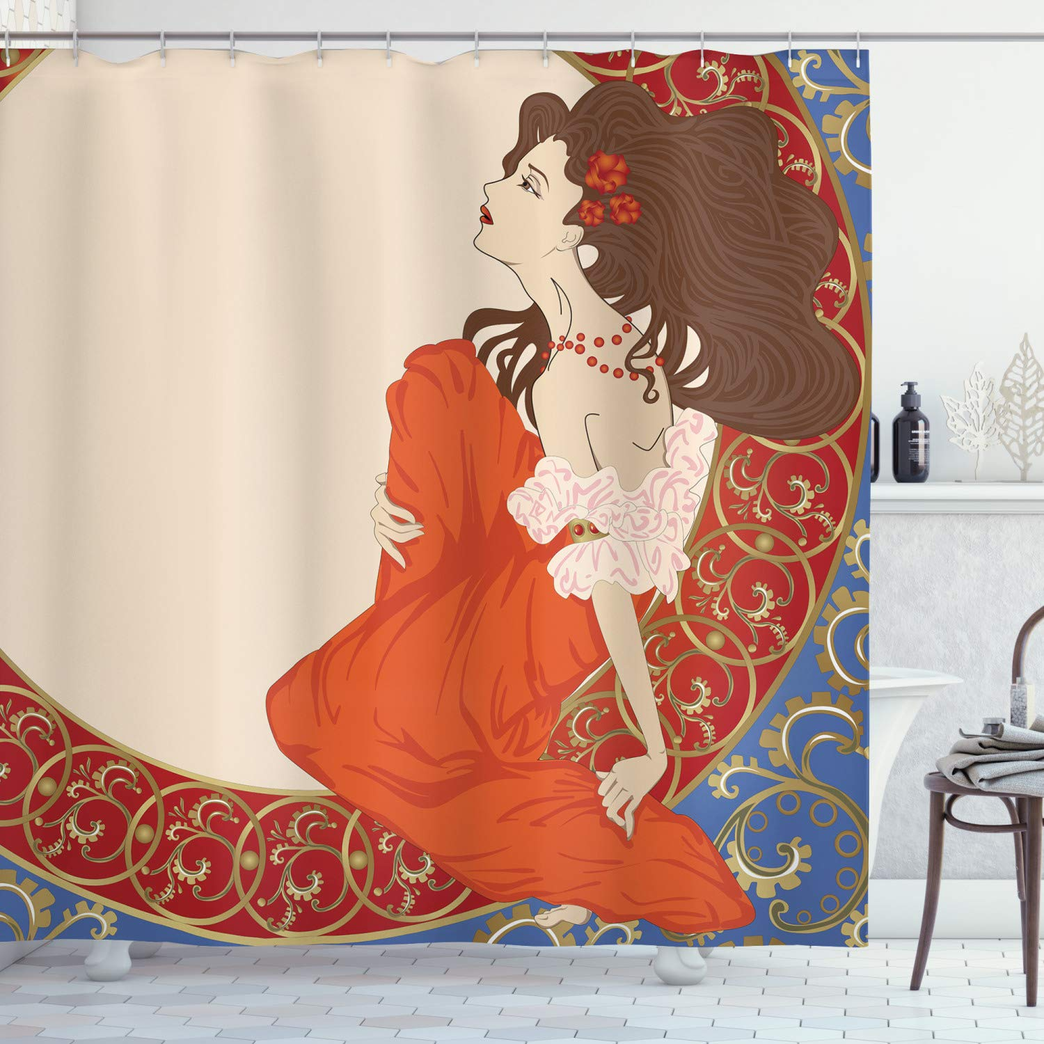 "Ambesonne Art Nouveau Shower Curtain, Antique Woman in an Old Fashioned Medieval Dress Floral Rich Framework Print, Cloth Fabric Bathroom Decor Set with Hooks, 84"" Extra Long, Cream Orange"