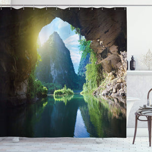 Ambesonne Natural Cave Shower Curtain, Mountain Sky View from the Grotto Viatnemese Tam Coc Park Myst Nature Photo, Fabric Bathroom Decor Set with Hooks, 84 Inches Extra Long, Multicolor