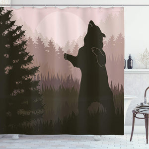 Ambesonne Nature Shower Curtain, Silhouette of Wild Bear in The Jungle Woodland at Dark Night Illustration, Fabric Bathroom Decor Set with Hooks, 75 Inches Long, Army Green