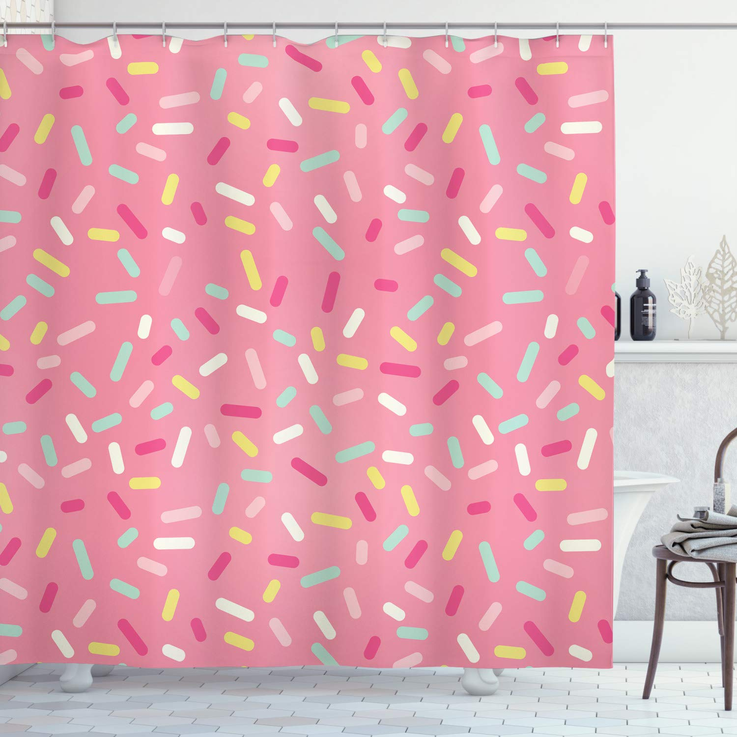 Ambesonne Pink and White Shower Curtain, Abstract Pattern of Colorful Donut Sprinkles Sweet Tasty Food Bakery Theme, Cloth Fabric Bathroom Decor Set with Hooks, 70 inches, Pink Yellow
