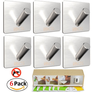 3M Self Adhesive Hooks - SNCTG 6 Pack Towel Hook SUS 304 Brushed Stainless Steel Bathroom Kitchen Organizer Super Power Heavy Duty Wall Mount Coat Hanging Rack