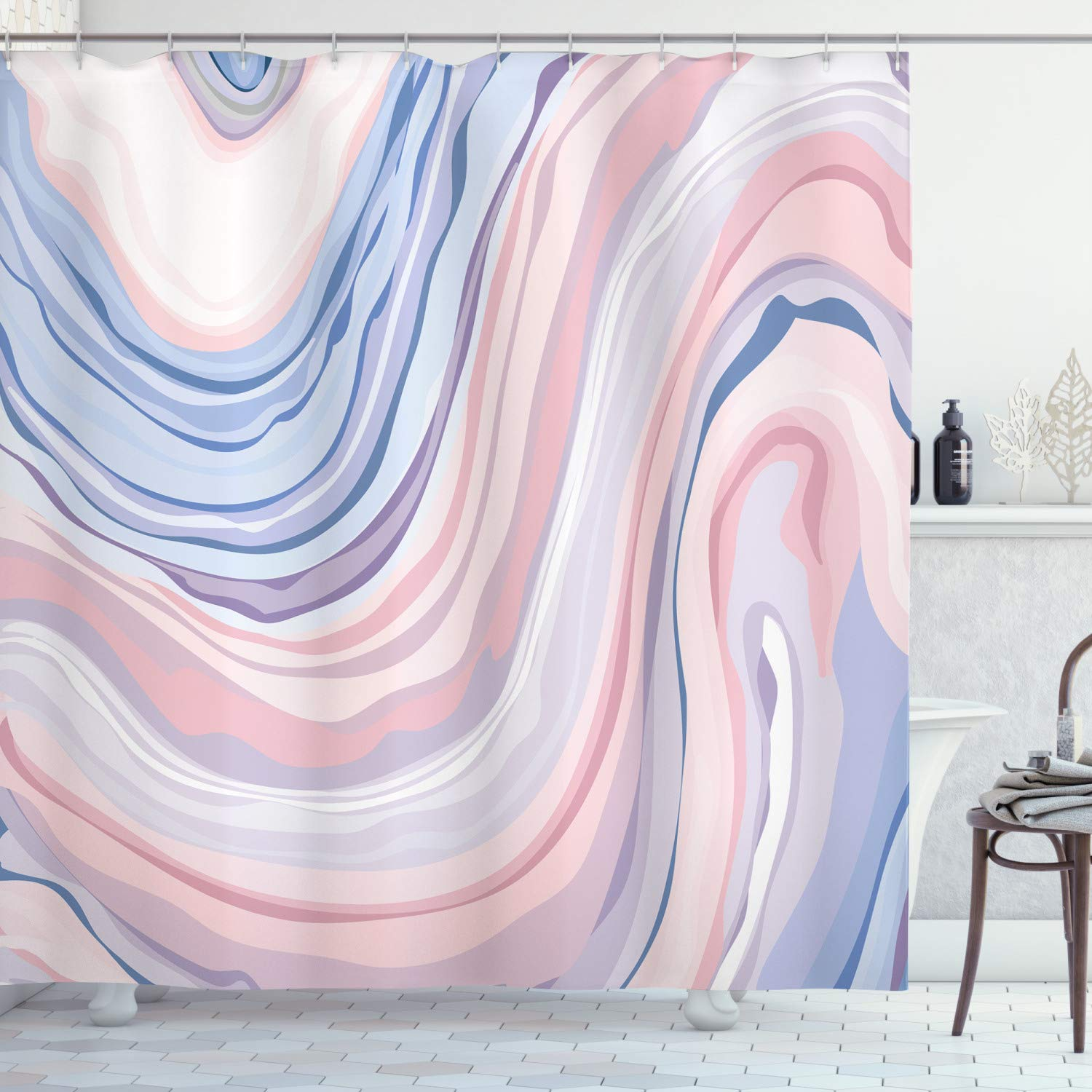 Apartment Decor Shower Curtain by Ambesonne, Abstract Pastel Tones in Motion Quartz Crystal Mineral Inspired Picture, Fabric Bathroom Decor Set with Hooks, 75 Inches Long, Pink Blue