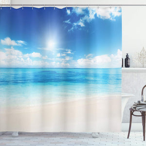 Ambesonne Ocean Shower Curtain, Beach View from Caribbean Sea in a Sunny Day Exotic Summer Season Print, Fabric Bathroom Decor Set with Hooks, 84 Inches Extra Long, Cream Turquoise