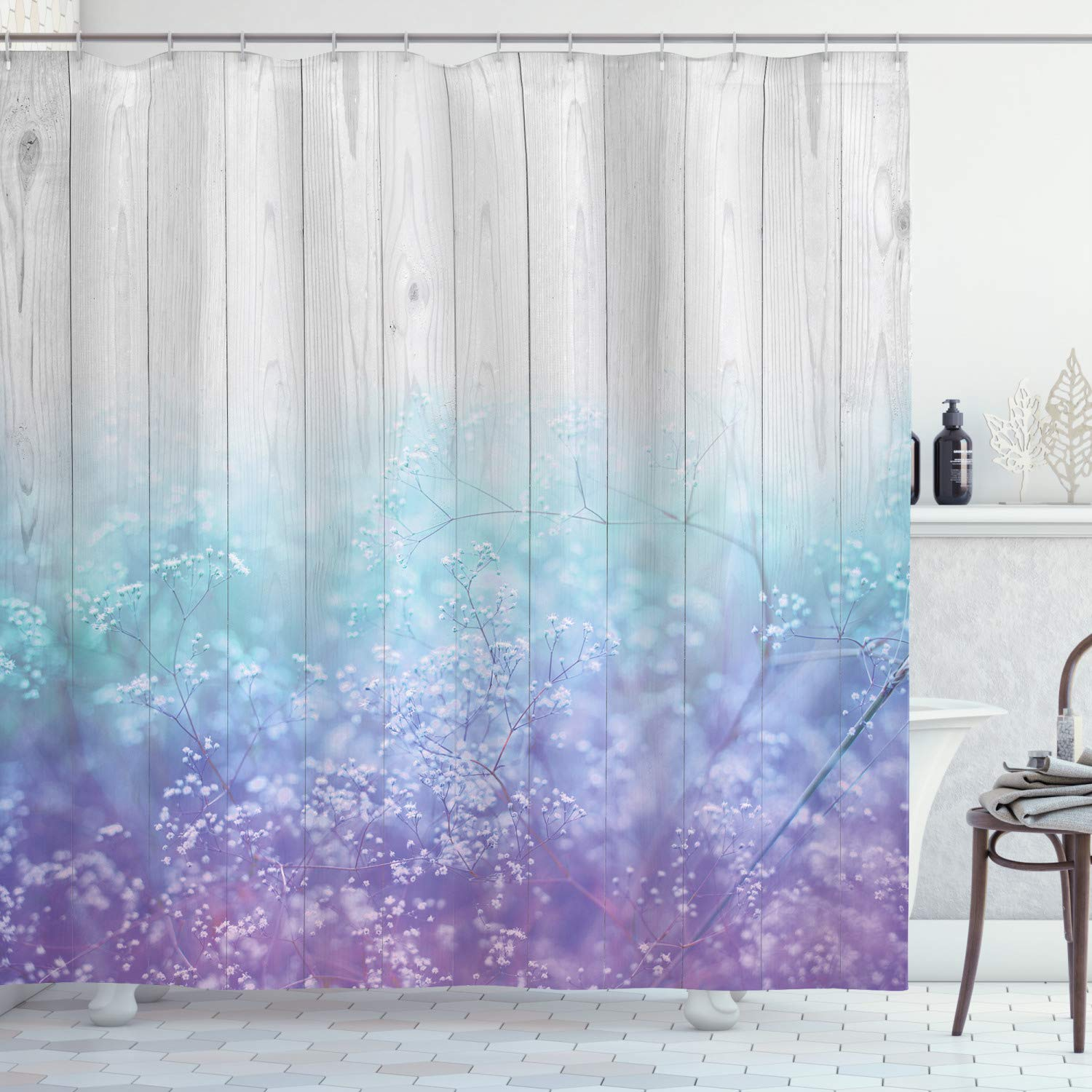 "Ambesonne Garden Shower Curtain, Dreamy Abstract Garden Perennial Petals Branches in Pastel Colors Artwork Print, Cloth Fabric Bathroom Decor Set with Hooks, 75"" Long, Lavender Blue"