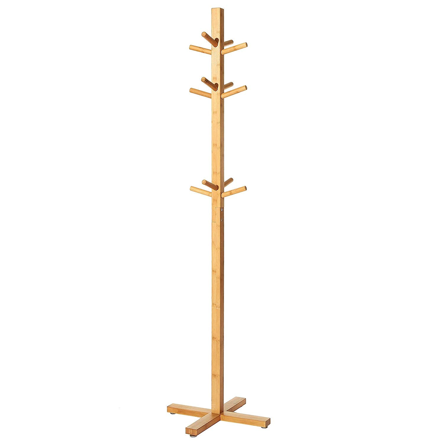 Freestanding Entryway Bamboo Wood 12 Hook Garment / Tree Rack / Hallway Coat & Hat Stand