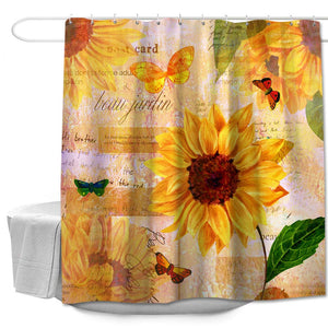 "Colorful Star Yellow Sunflowers Butterfly Design Shower Curtain Made of 100% Polyester Fabric Machine Washable Waterproof Durable with Hooks 72""x78"""