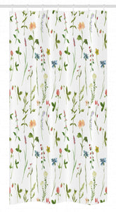 "Ambesonne Floral Stall Shower Curtain, Spring Season Themed Watercolors Painting of Herbs Flowers Botanical Garden Artwork, Fabric Bathroom Decor Set with Hooks, 36"" X 72"", Multicolor"