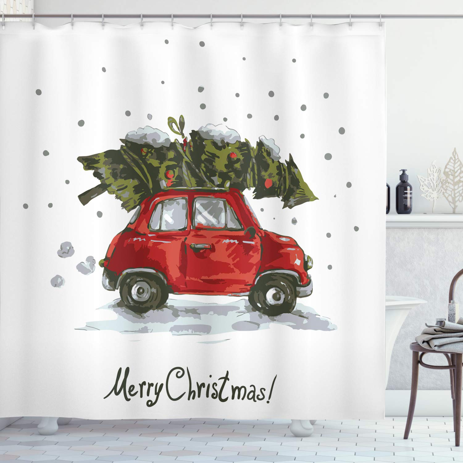 Ambesonne Christmas Shower Curtain, Red Retro Style Car Xmas Tree Vintage Family Style Illustration Snowy Winter Art, Fabric Bathroom Decor Set with Hooks, 70 Inches, Red Green