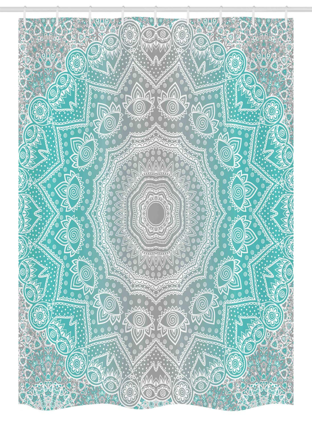 "Ambesonne Grey and Turquoise Stall Shower Curtain, Primitive Essence and Universe Harmony Mandala Ombre Art, Fabric Bathroom Decor Set with Hooks, 54"" X 78"", Turquoise and Grey"