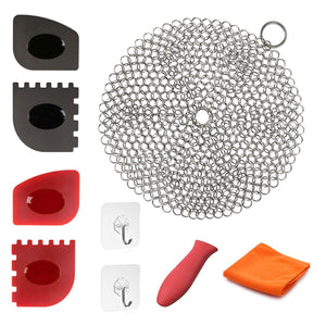 Cast Iron Cleaner 9 Packs XL 7 x 7 316L Stainless Steel Chainmail Scrubber for Skillets Cast Iron Pan With Silicone Hot Handle Holder+2 x Pan Scraper+2 x Grill Scraper+Kitchen Towel (Round)