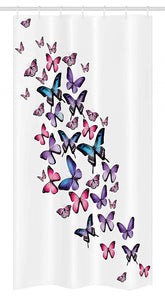 Ambesonne Butterflies Stall Shower Curtain, Many Different Butterflies Big Wings Stylish Feminine Companionship Fun, Fabric Bathroom Decor Set with Hooks 36 W x 72 L Inches,